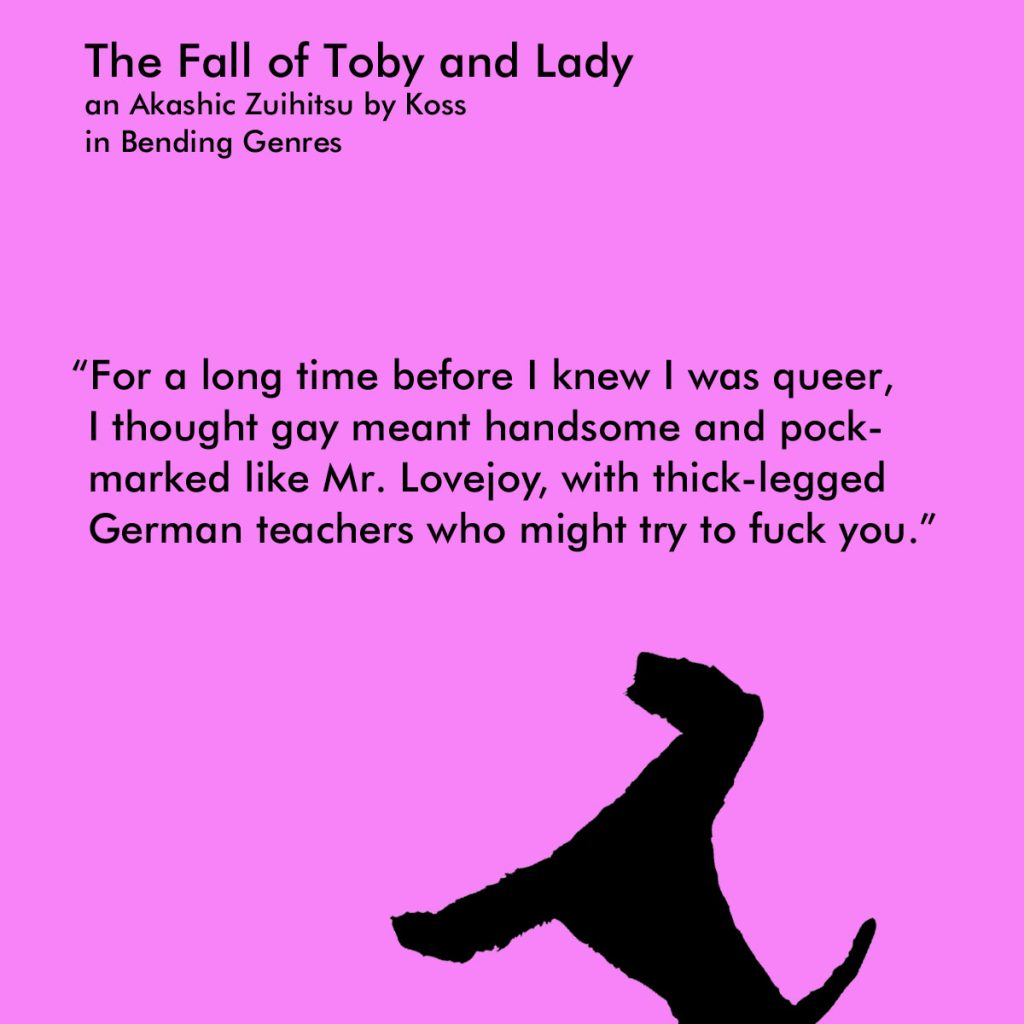 pink poem excerpt from The Fall of Toby and Lady with a black airedale motif