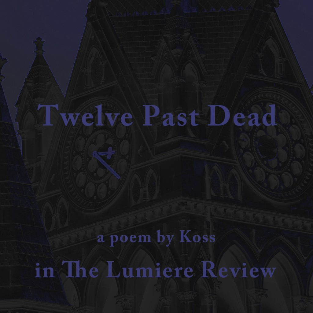Clock Tower in York with promo text for Twelve Past Dead