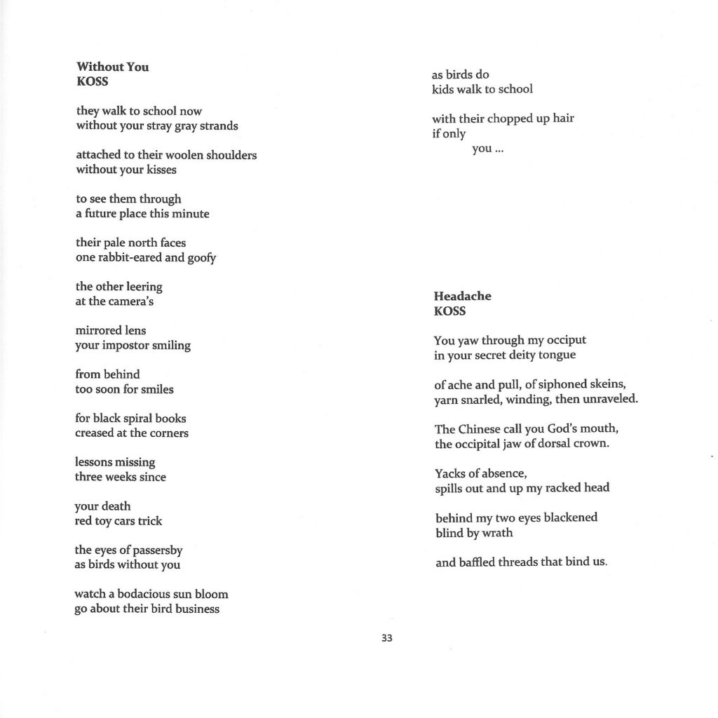 Two poems from a page of Dreich Magazine written by Koss, Headache and Without You