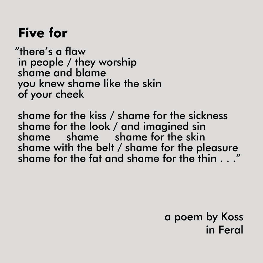Five for, a poem excerpt by Koss