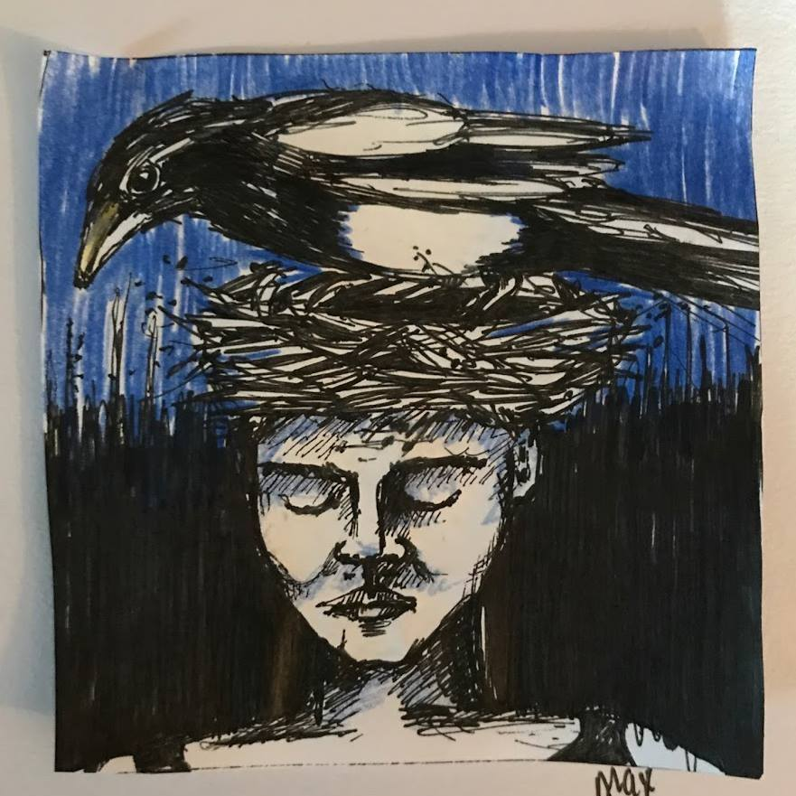 Magpie and woman ink drawing