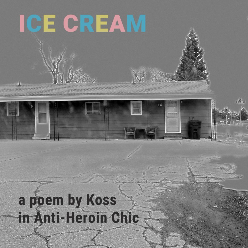 poetry promo for ice cream poem by koss with black and white flint motel and superman colored ice cream header