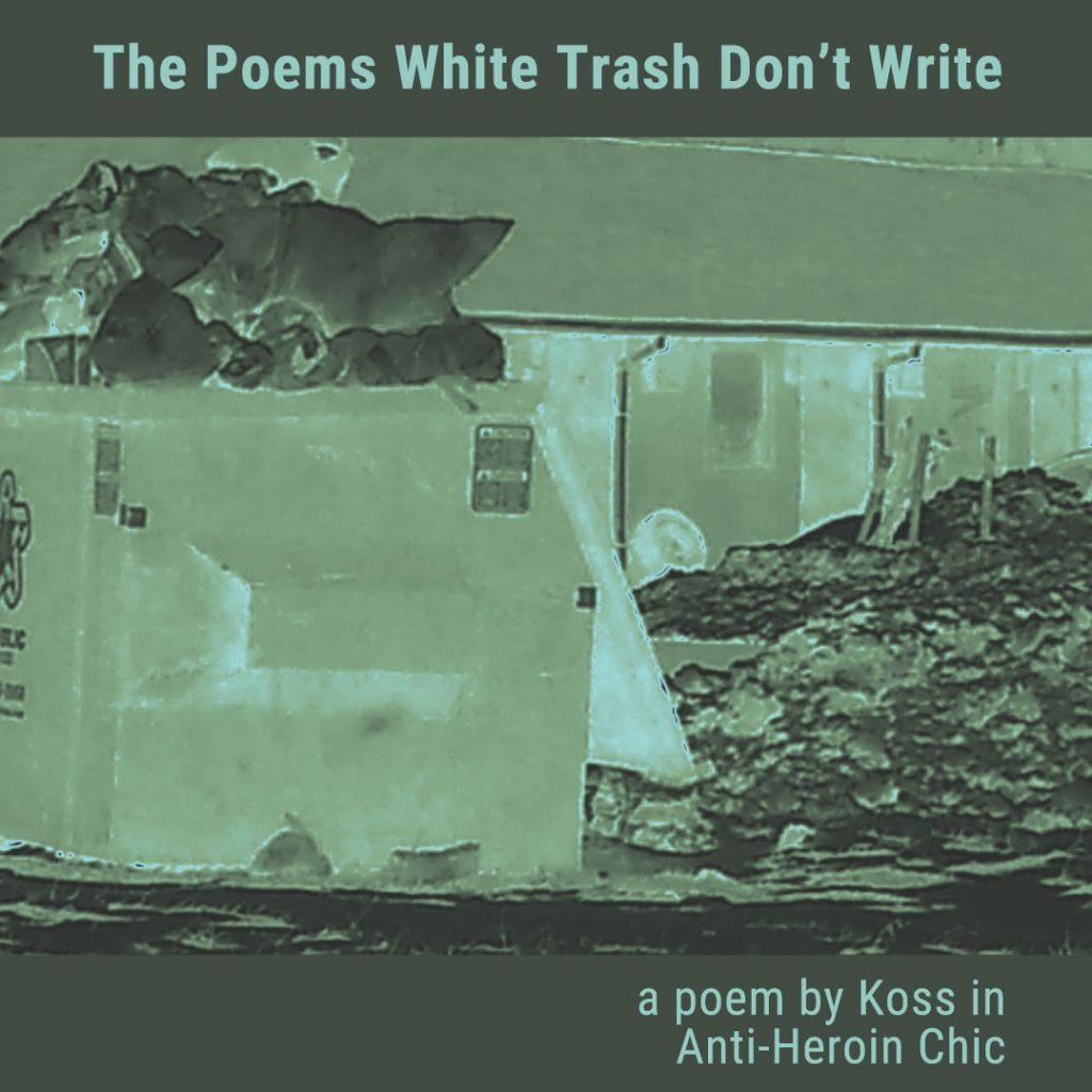 Poems White Trash Don't Write promo of trash bin and rundown motel