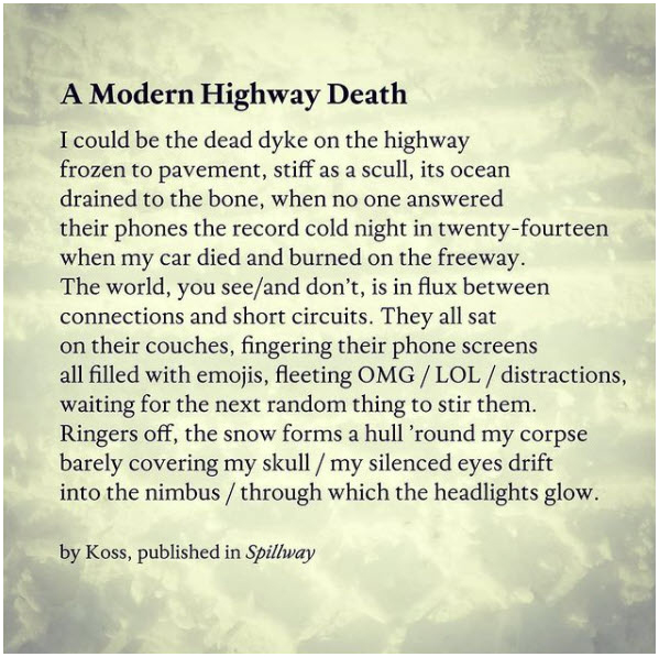 A Modern Highway Death, Poem in Spillway, with snow track explosion in monochrome yellowed gray tones.