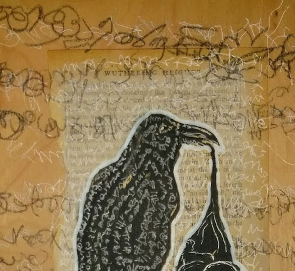 Magpie Asemic Drawing/Collage on Wood Closeup